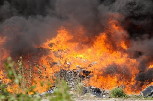 fire at illegal dump