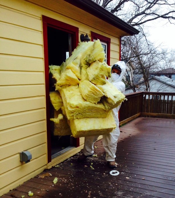 Austin Demolition: Hugging Insulation to Try to Stay Warm!
